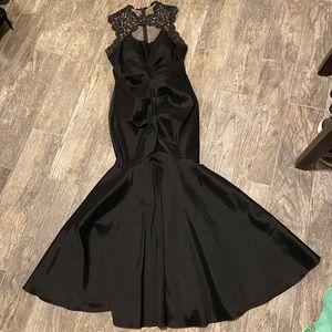 Mermaid style black formal gown